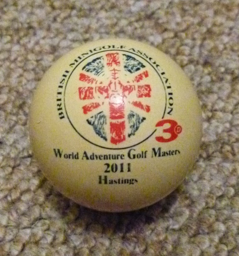 The official ball of the 2011 World Adventure Golf Masters competition held in Hastings. The ball was made by 3D-Minigolf