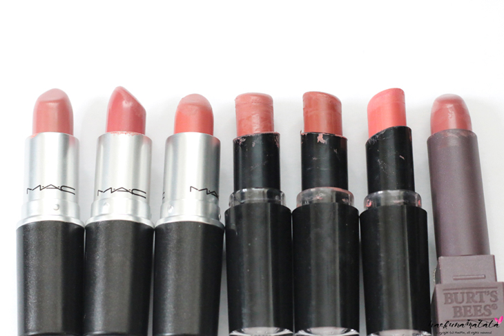 My Favorite MLBB Lipsticks: Swatches, Dupes, Comparisons - WNW Just Peachy, MAC Modesty, MAC Cosmo, Burt's Bees Suede Splash, MAC Velvet Teddy, WNW Bare It All, WNW Sandstorm, Dior 650, Marc Jacobs Kiss Kiss Bang Bang