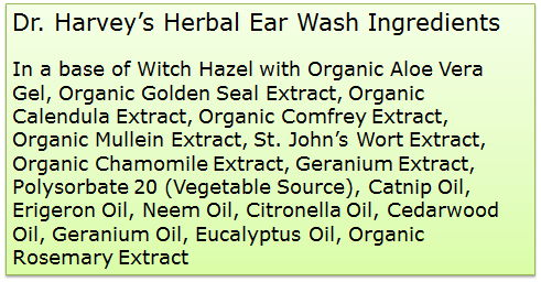 Dr. Harvey's Herbal Ear Wash ingredients
