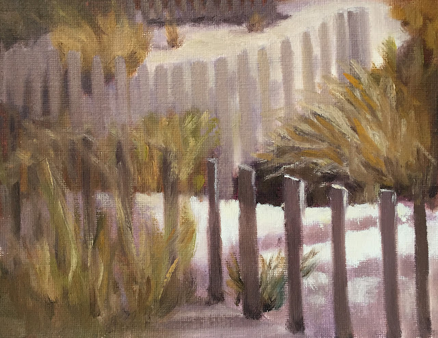 guiding the eye with value study of beach fence Feb-7-2019