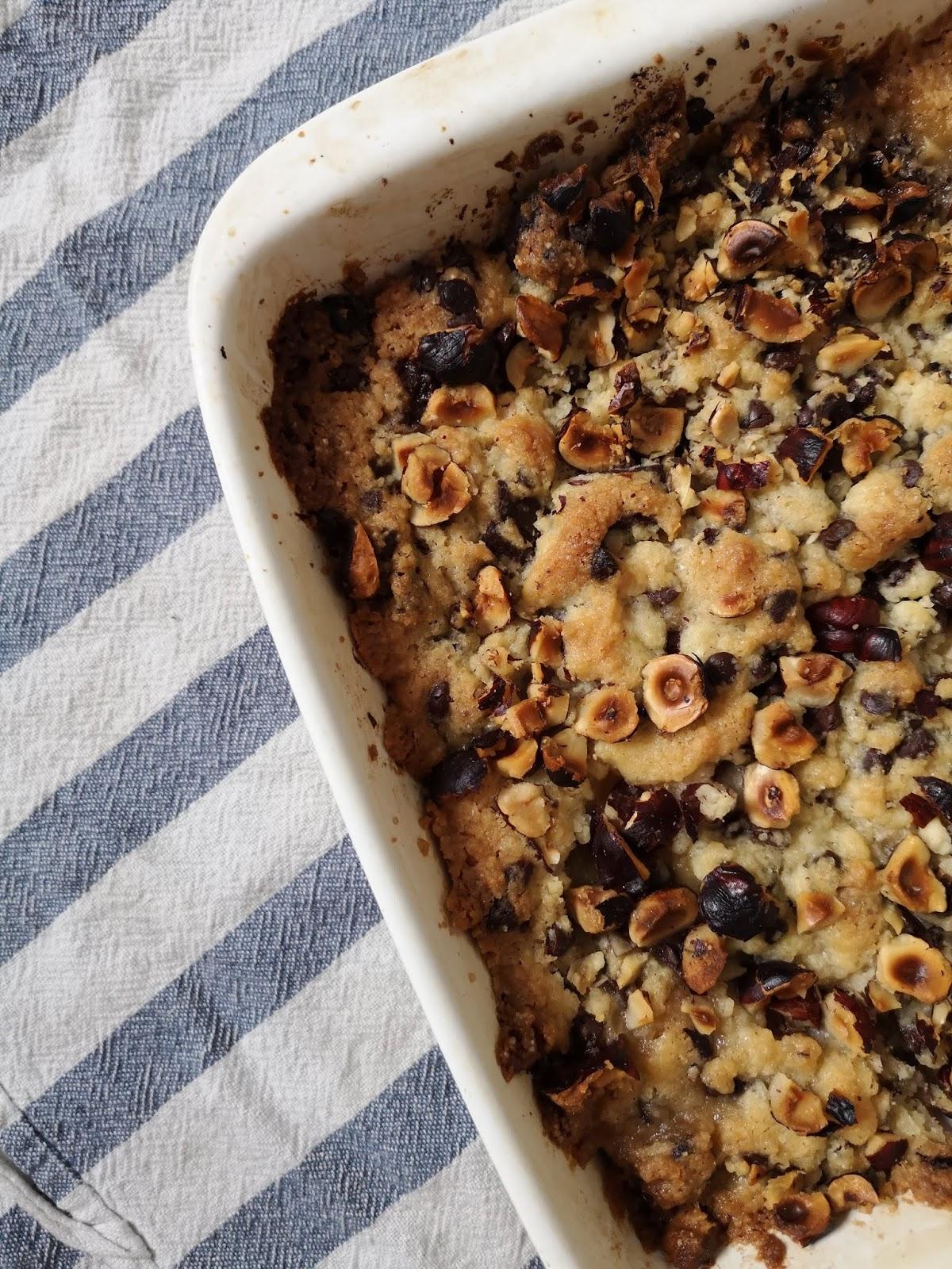 recette-crumble-chocolat-poire-noisette
