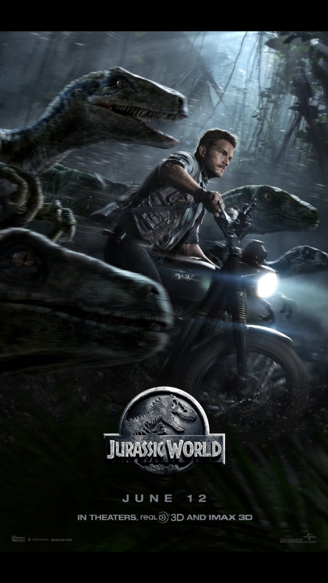 Actor Chrs Pratt speeds through the jungle on a Triumph Scrambler flanked by Velociraptor Dinosaurs