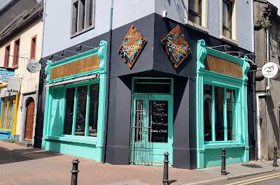 Green teal new restaurant shop front