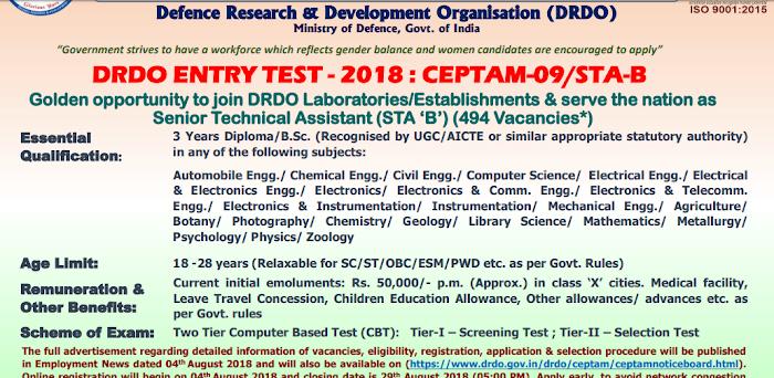 DRDO में STA-B का 494 पदों का भर्ती : अंतिम तिथि 29/08/2018