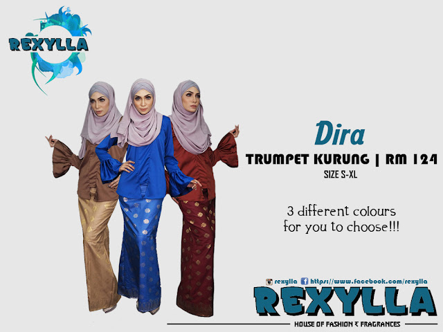 rexylla, trumpet kurung, dira collection