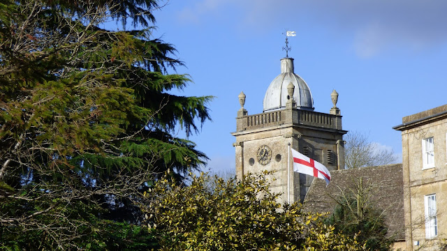 An England flag flies in the grounds of Bourton-on-the-water library - Cotswolds