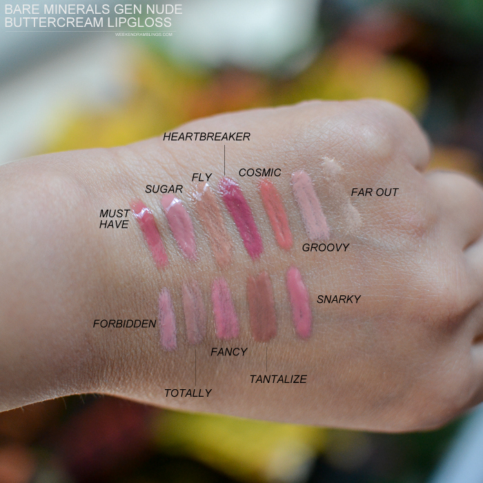 Bare Minerals Gen Nude Buttercream Lipgloss - Swatches - Must Have Sugar Fly Heartbreaker Cosmic Groovy Far Out Forbidden Totally Fancy Tantalize Snarky