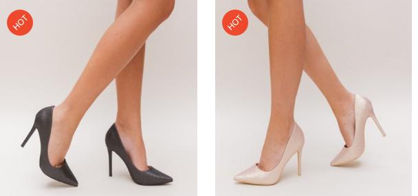 Pantofi cu toc inalt eleganti aurii, negri de ocazii deosebite