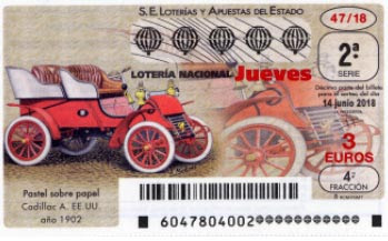 decimos de loteria dedicados al coche cadillac A 1902