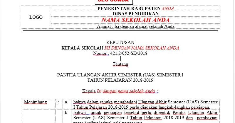 Contoh Sk Panitia Dan Jadwal Uas Pas Semester Ganjil Format Ms Word Seo Sunda