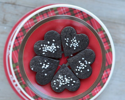 Chocolate Shortbread Cookies ♥ KitchenParade.com, a simple chocolate cookie, tender and crisp, barely sweet.