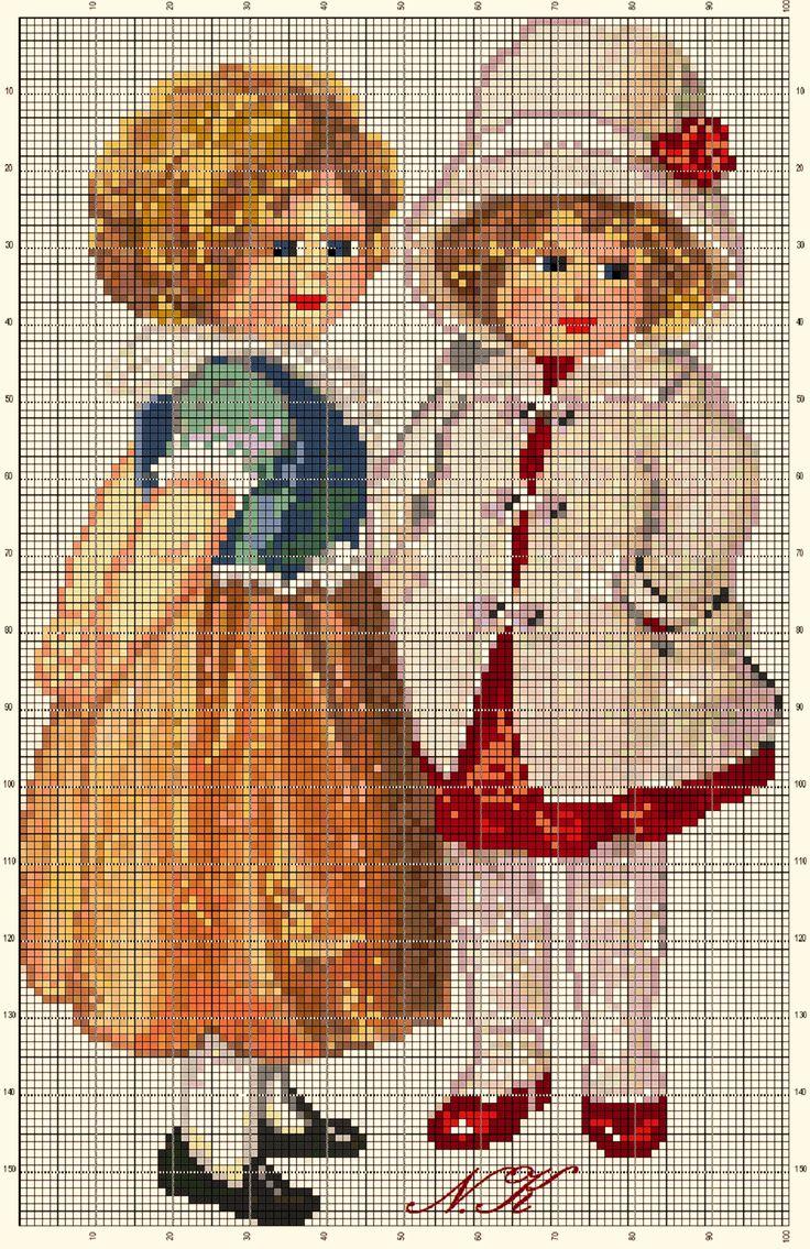 Винтажные открытки. Схемы вышивки крестом (3)