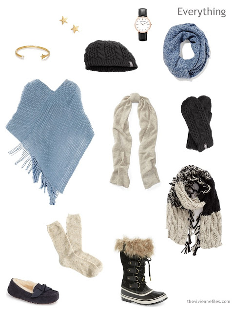 Accessory capsule wardrobe in black beige and denim blue