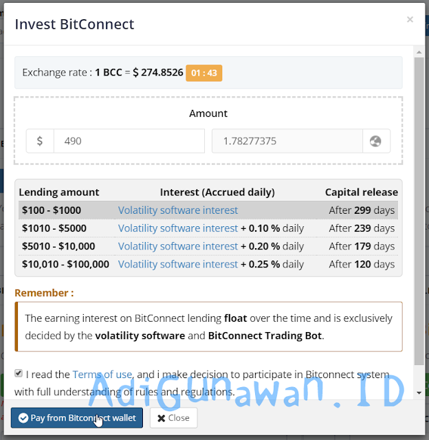 cara mining bitconnect