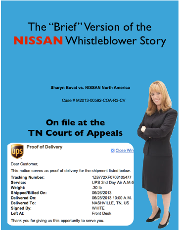 Sharyn Bovat Could NOT Find a Lawyer to Represent Her Cause NISSAN Lawyer's Bullied Them