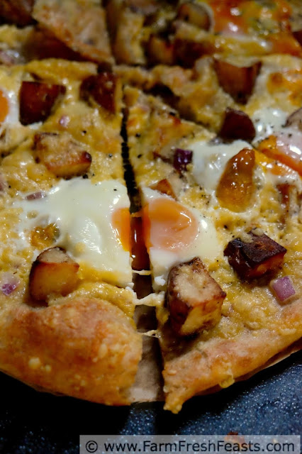 This grilled pizza recipe combines fresh eggs with roasted potatoes and a thick layer of creamy gouda cheese.