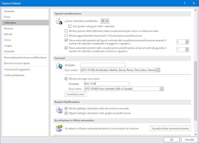 Opzioni Outlook, Mostra secondo fuso orario