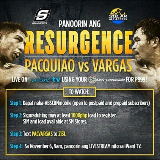Pacquiao vs. Vargas on ABS-CBN, Sky cable