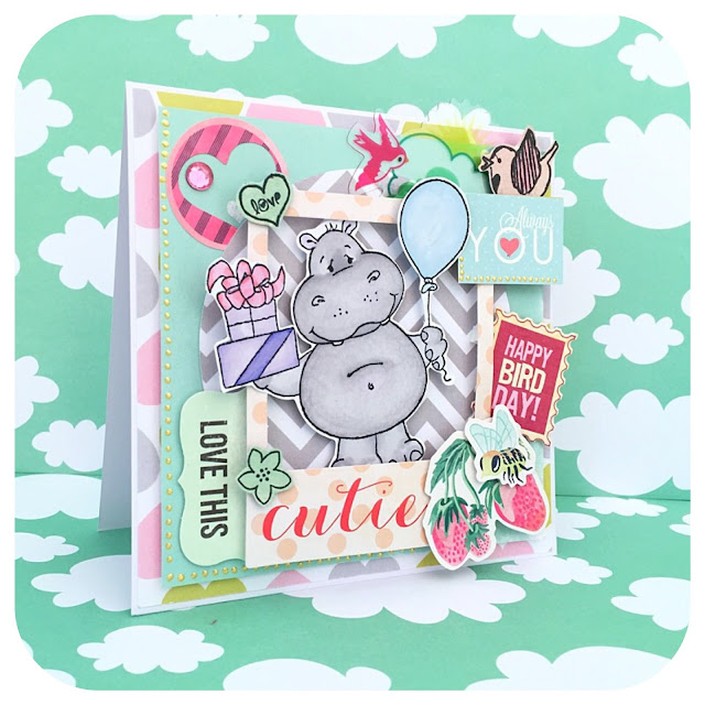 Scrapbooking card with hippo