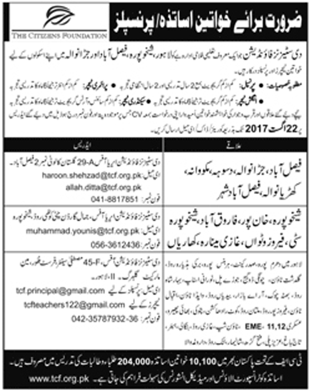 Jobs In Female Teachers, Principal Required In The Citizen Foundation Punjab  Aug 2017