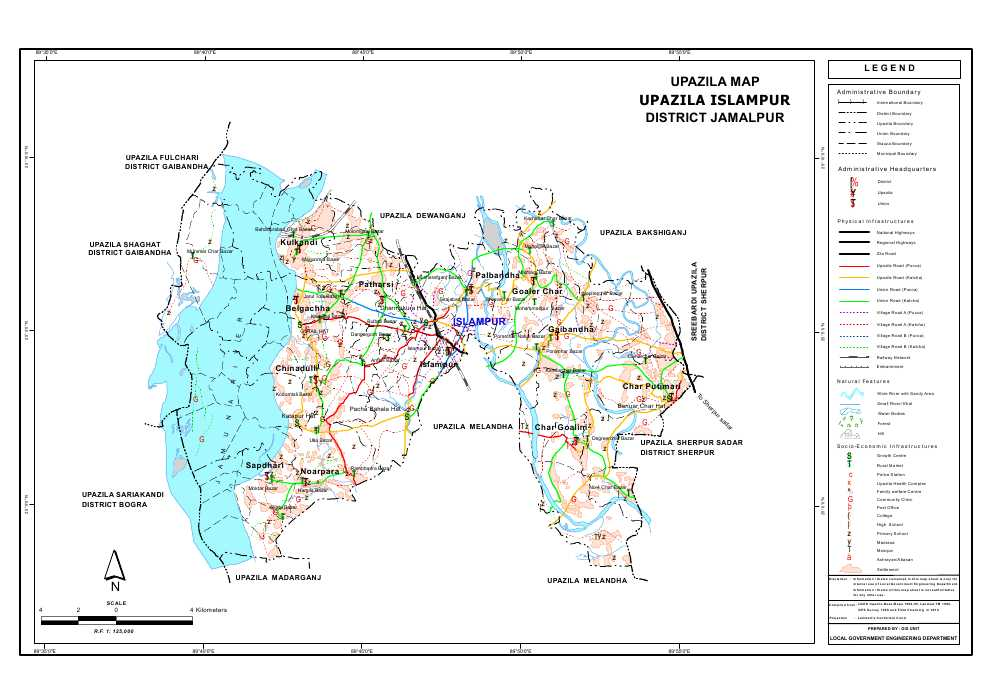 Islampur Upazila Map Jamalpur District Bangladesh