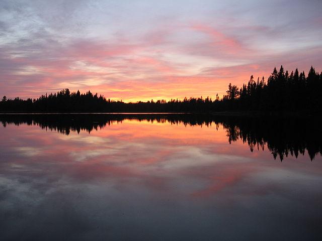 Gorgeous sunset colors at Pose Lake, Minnesota