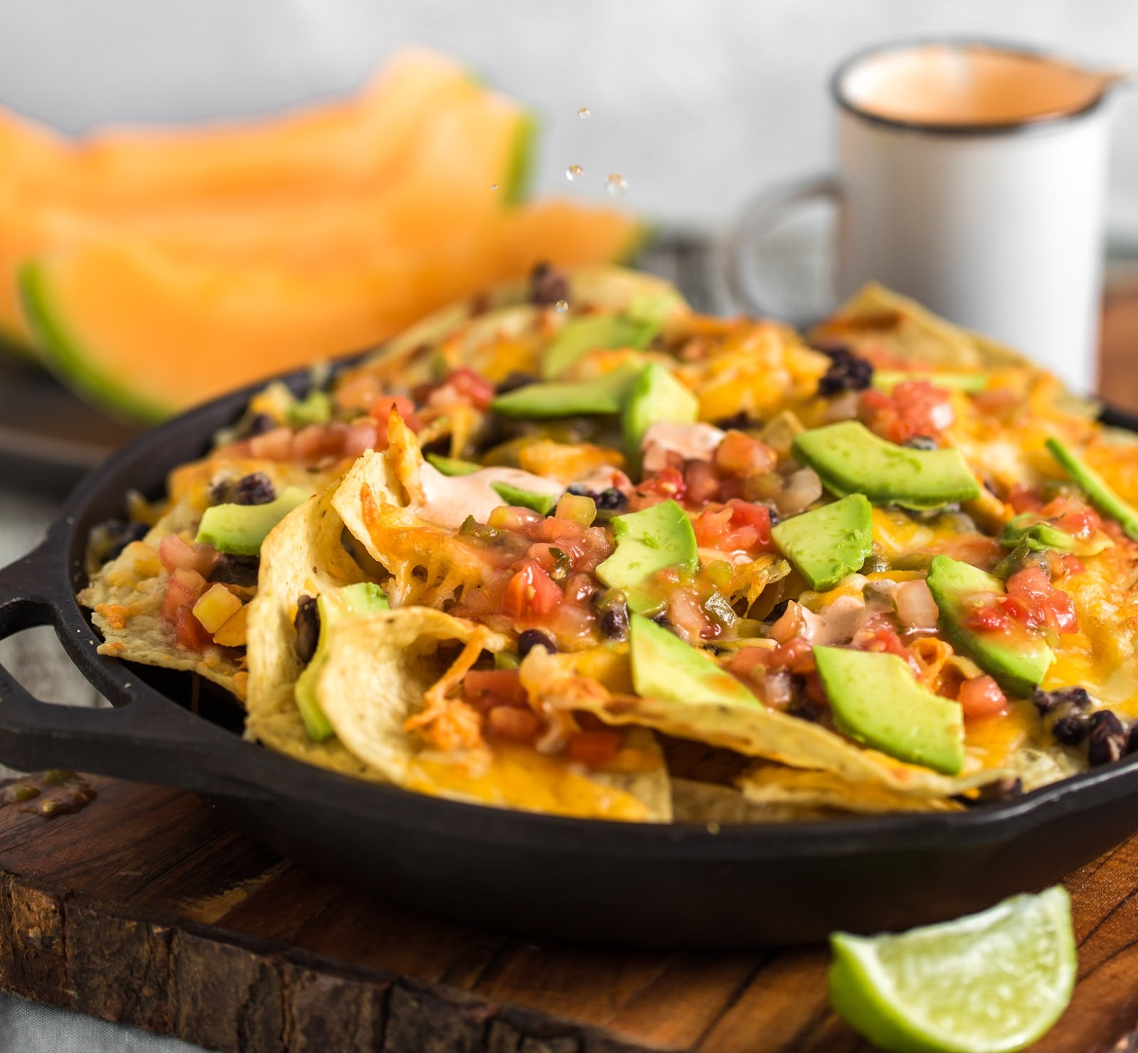 buffalo chicken nachos in skillet