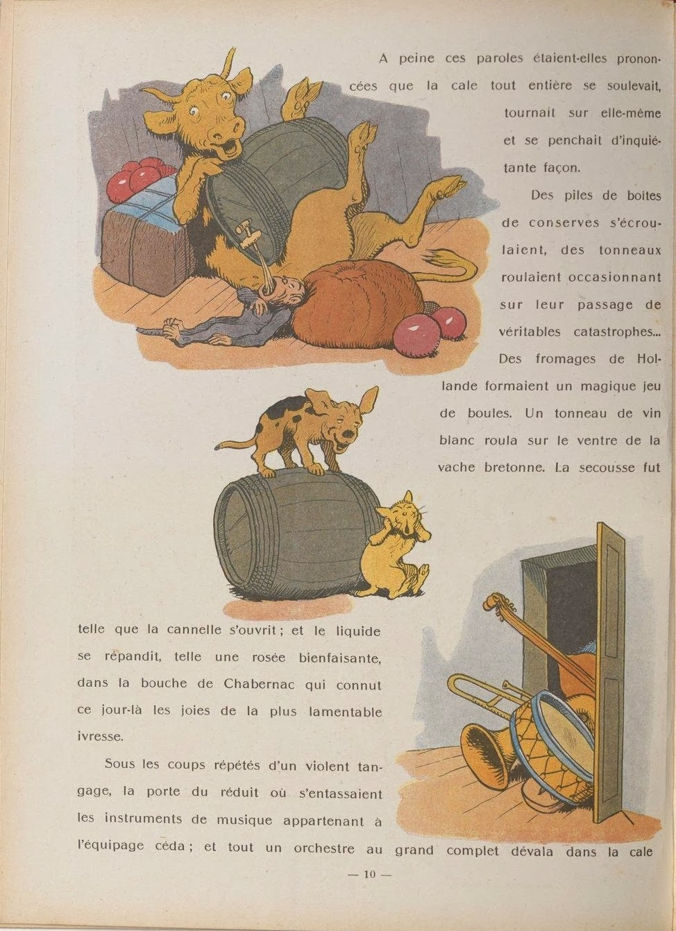 3x 1930s comic scenes from Gedeon book featuring anthropomorphic animals between French text