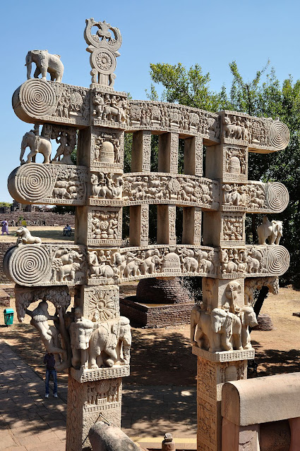 Eastern decorated gate way to Sanchi Stupa - UNESCO World  Heritage site in India