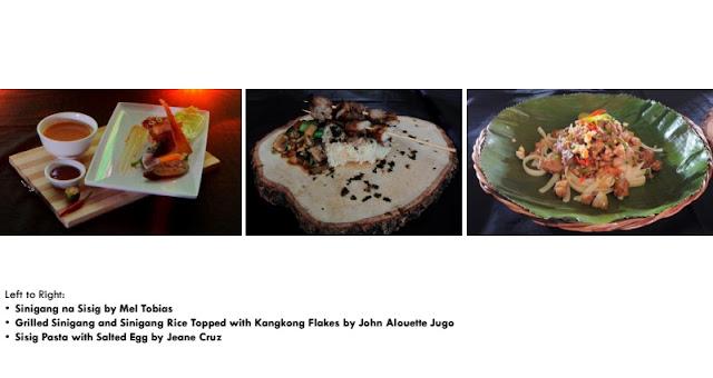 Mel Adrian Tobias- Sinigang na Sisig John Alouette Jugo- Grilled Sinigang and Sinigang Rice Topped with Kangkong Flakes Jeane Cruz- Sisig Pasta with Salted Egg