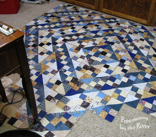 Quilt blocks on the floor