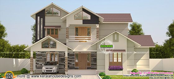 Sloping roof villa in 3200 sq-ft