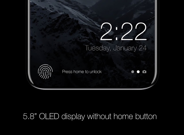 The iPhone 8 would change the 'Home' button to a 'function area' and thus be able to have the entire screen on the front