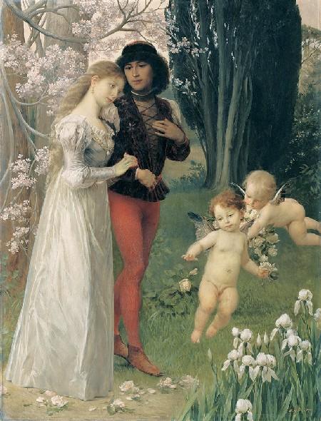 ernst klimt giovani innamorati nel giardino