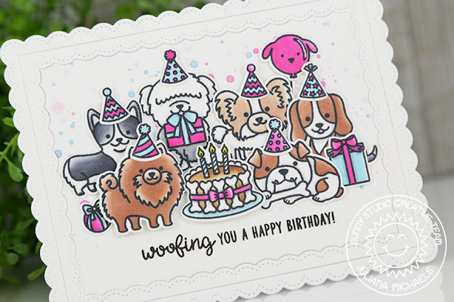 Sunny Studio Stamps: Party Pups Woofing Happy Birthday Card by Juliana Michaels