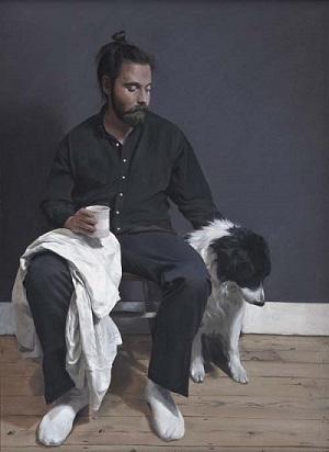 by Jack Freeman, imagenes pinturas interesantes, hombre con perro mascota,