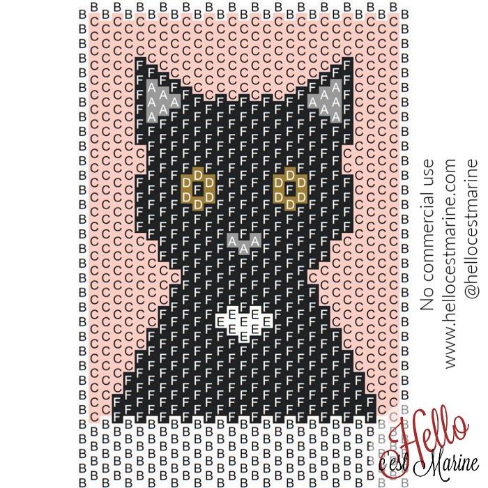 Diagramme d'un grand chat noir à tisser avec des perles Miyuki delicas 11/0 par Hello c'est Marine