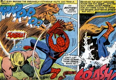 Amazing Spider-Man #57, don heck, john romita, ka-zar defeated, zabu leaps at spider-man and the man and the cat fall into the nearby lake