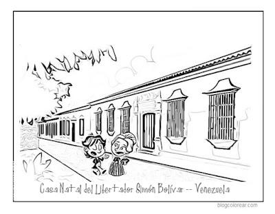 . Dibujo de la casa natal de Simón bolívar para pintar