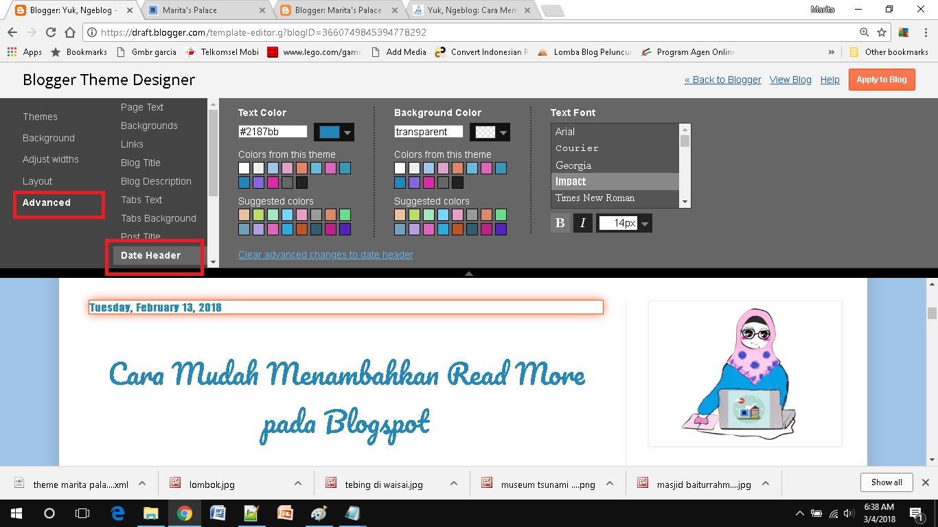 mendesain template blog sederhana pilih date header