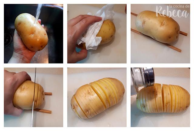 Receta de patatas hasselback con cheddar y bacon: preparación
