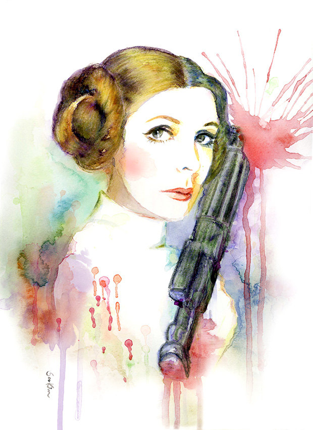 15-Princess-Leia-Star-Wars-Carrie-Fisher-Soo-Kim-Celebrity-Watercolor-Portraits-www-designstack-co