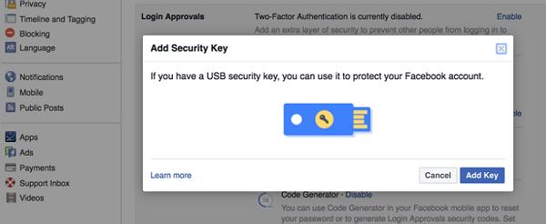 Añade un plus de seguridad a tu cuenta de Facebook