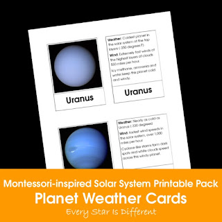 Montessori-inspired Solar System Printable Pack: Planet Weather Cards