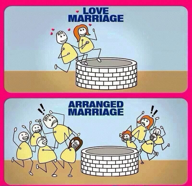 difference between love and marriage Funny images on whatsapp, advantages of arranged marriage, love marriage disadvantages, husband wife meme difference between arranged and love marriage4.