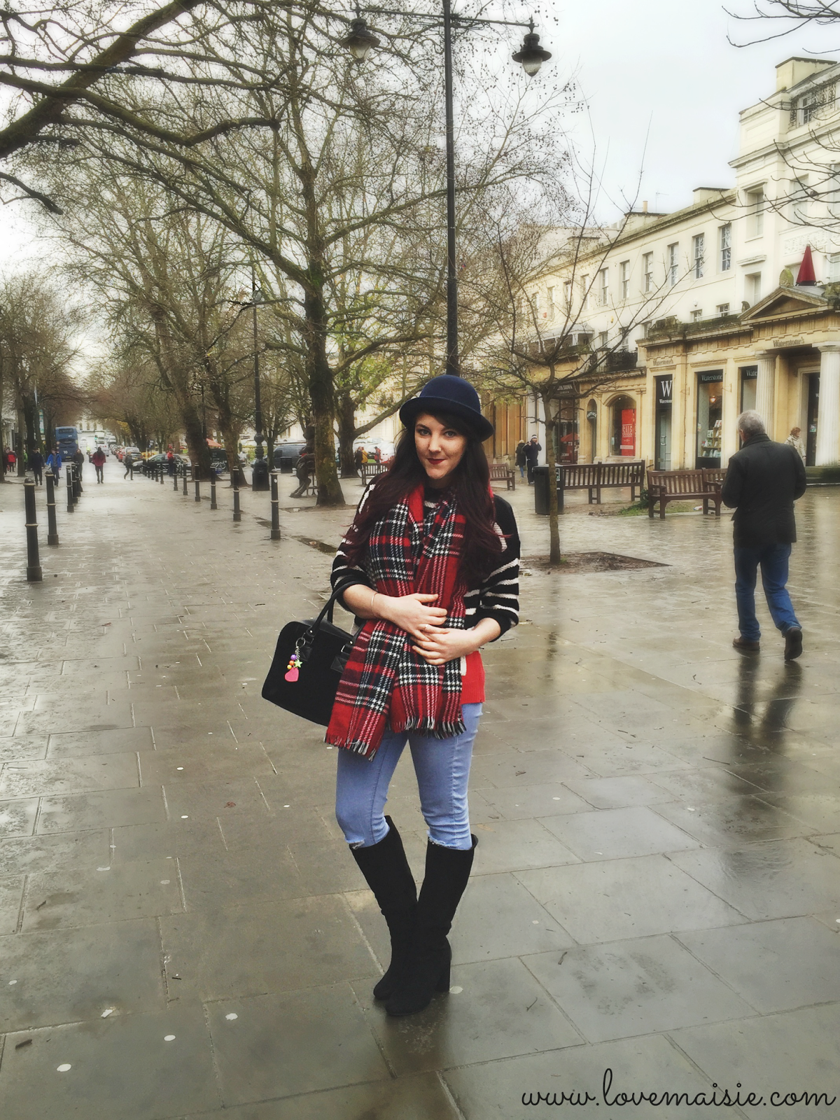 tartan on stripes, #ootd Love, Maisie blog
