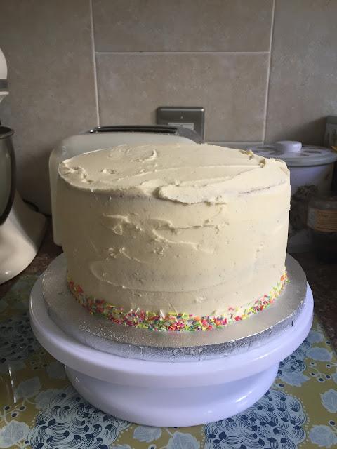 iced funfetti cake