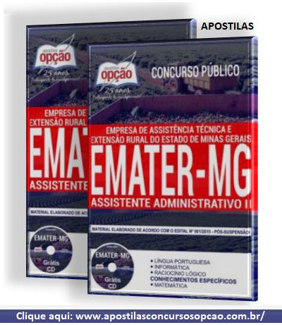 Apostila concurso da Emater MG cargo Assistente Administrativo II 2018