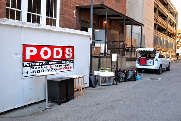 Pods container in the alley