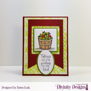 Divinity Designs Stamp Set: Fruit of the Spirit, Mixed Media Stencils: Circles, Custom Dies: Oval Stitched Rows, Ovals, Large Banners, Squares, Pierced Squares